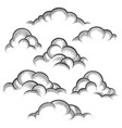 clouds engraving set vector image vector image