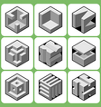 cube icon set 3 vector image vector image