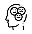 different mood smile in man silhouette mind vector image vector image