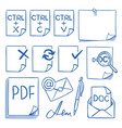 doodle office paper icons with function vector image