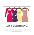 dry cleaning service poster women dresses hanging vector image