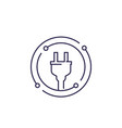 electricity line icon with electric plug vector image vector image