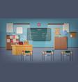 empty school classroom with green chalkboard vector image