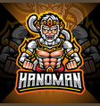 hanoman esport mascot logo design vector image