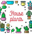 house plants or cartoon exotic flowers vector image vector image