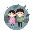 kids wearing masks against smog in city vector image