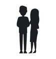 man and woman silhouettes young family banner vector image vector image