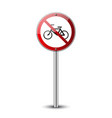 no bicycle sign forbidden red road sign isolated vector image vector image
