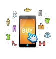 Online Shopping Clothing with Mobile App vector image vector image