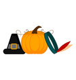 pilgrim hat indian hat and a pumpkin vector image