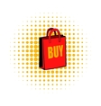 Red paper bag comics icon vector image vector image