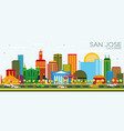 san jose california skyline with color buildings vector image vector image