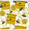 seamless stylized bee pattern with honey spoons