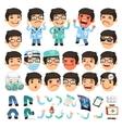 set cartoon doctor character for your design or vector image