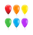 set of 6 colors of rainbow balloons with threads vector image