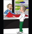 shopkeeper helping customer to choose clothes vector image