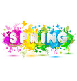spring text on colorful blots hand drawn elements vector image