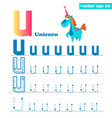 u alphabet letter with funny unicorn character vector image vector image