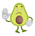 waving avocado on white background vector image vector image