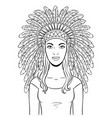 woman in indian headdress coloring vector image vector image