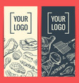 banner or flyer templates with hand drawn vector image