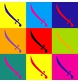 Sword sign Pop-art style icons set vector image