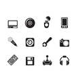 Silhouette Computer and mobile phone elements icon vector image