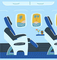 aircraft cabin with passenger seats tropical vector image