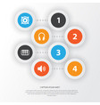 audio icons set collection of sound earphone vector image vector image