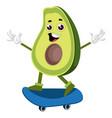 avocado riding skateboard on white background vector image