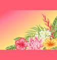 background with tropical flowers and leaves vector image