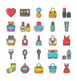 beauty and fashion colored icons set 4 vector image vector image