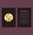 best choice sale cover front back page gold label vector image
