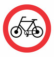 bicycle traffic sign vector image vector image