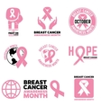 Breast Cancer Awareness month emblems badges and vector image