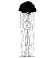 cartoon man or businessman standing in rain vector image