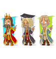 cartoon medieval king judge character set vector image vector image