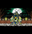 cartoon of zombie group on the halloween day with vector image vector image