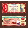 Circus show two vintage tickets set vector image vector image