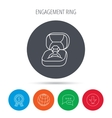 Engagement ring icon Jewellery box sign vector image vector image