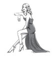fashion a young woman in an evening dress vector image