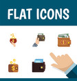 flat icon purse set of money payment billfold vector image vector image