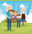 grandparents with grandchildren in the park vector image