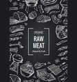 hand drawn monochrome meat elements vector image