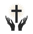 hands with shining holy cross design element vector image vector image