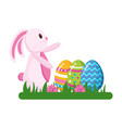 happy easter rabbit eggs vector image vector image