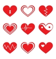 Hearts icons set in flat style vector image vector image