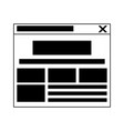 internet website tab isolated in black and white vector image vector image