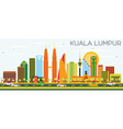 Kuala Lumpur Skyline with Color Buildings vector image vector image