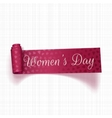 March 8 Womens Day realistic pink greeting Ribbon vector image